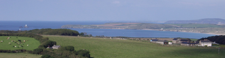View from Tremcrom Hill over Gwithian Sands and Godrevy Lighthouse